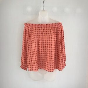 Banana Republic Coral Off The Shoulder Blouse